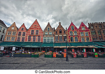 Bruges marketplace - View of marketplace of old Bruge,...