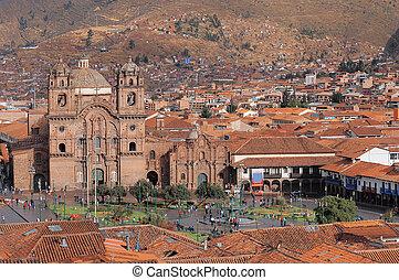 Central square In Cuzco, Plaza de Armas Peru