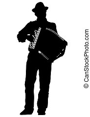 Accordion man - Music man whit accordion on white background