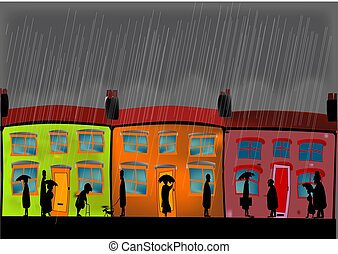 Heavy Rain - A row of cottages during a heavy rain storm...