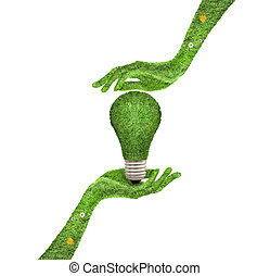 Hand holding ecology light bulb energy concept - Hand...