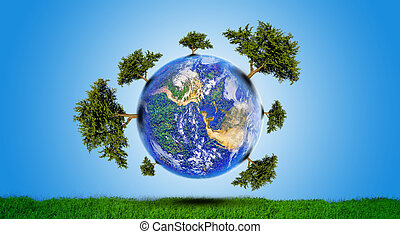 Planet With Tree - protect the environment concept - earth...