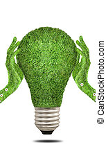 Hand holding eco light bulb energy concept - Hand covered...