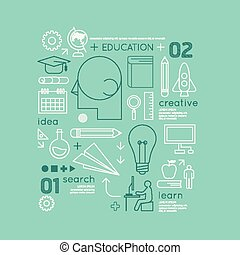 Flat linear Infographic Education Outline Technology Charts...
