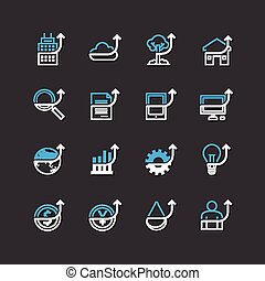 Vector flat icons set of business finance outline up...