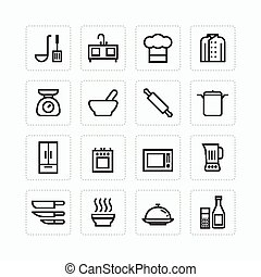 Vector flat icons set of kitchen cooking tools outline concept.