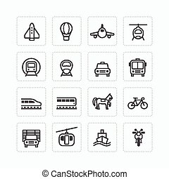 Vector flat icons set transportation outline concept.