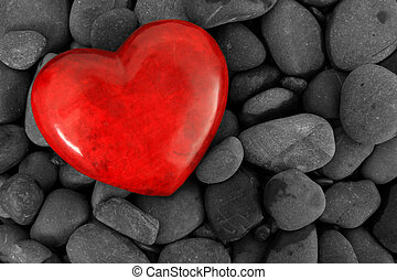 Valentines heart - Red heart on a background of river stones...