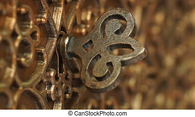 Bronze Casket with the Key in the Keyhole Rotated Macro...