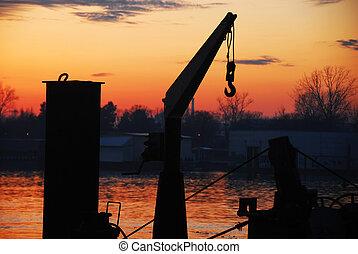 Boat cran and sunset at Sava river - boat cran and sunset at...