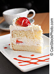 Strawberry Shortcake - Slice of strawberry shortcake with...
