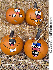 Happy Season - Fun faces on autumn pumpkins