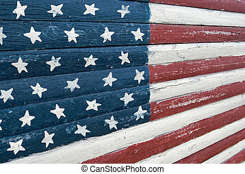 Old Glory - American flag painted on old wood.