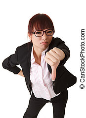 thumb down - Business woman give you thumb down sign,...