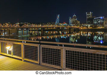 Portland Eastbank Esplanade Waterfront at Night - Portland...