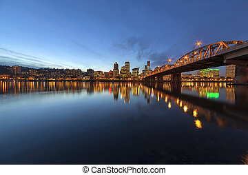 Portland Downtown Skyline by Hawthorne Bridge at Blue Hour -...