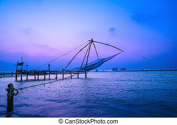 Beautiful Kochi chinese fishnets in twilight Kochi, Kerala....