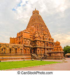View at the tower Hindu Brihadishvara Temple, India, Tamil...