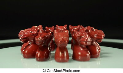 Rotating red jasper horses - Hand carved red jasper horse...