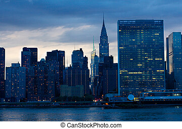 East Midtown at Night - View of the Midtown Manhattan East...
