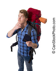 young backpacker tourist holding passport carrying backpack...