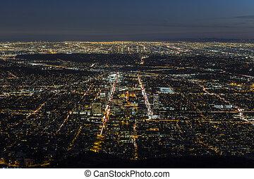 Gelndale and Los Angeles Night Aerial