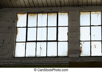 Industrial Building window, close up
