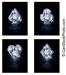 Poker diamonds card, vector illustration