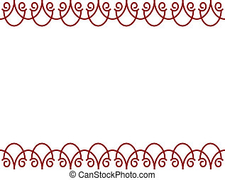 Red Border - An abstract red curve shaped background border...
