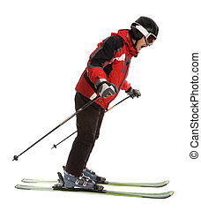 Scared skier man isolated on white