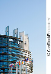 European Parliament facade with all EU European Union...