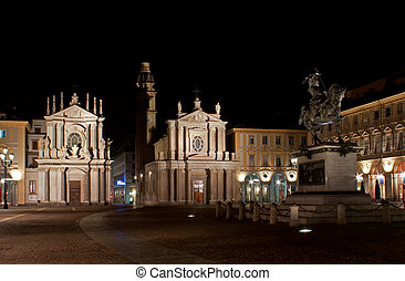 San Carlo by night - San Carlo square (Turin) by night
