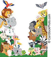Wild animal cartoon background - Vector illustration of Wild...