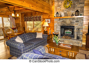 Interior Cabin in North Carolina - Family room seating area...
