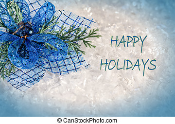 Happy Holidays Card - Happy Holidays greeting card with blue...
