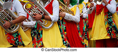 Carnival Parade - Carnival parade with colorful costumes....