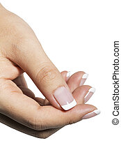 Hand with clear and white nail polish