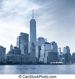 Manhattan. - The Manhattan Island. View from the Hudson...