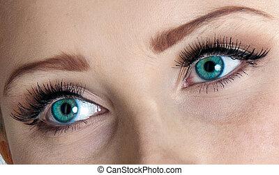Sexy, ojos, de, Un, hermoso, mujer,