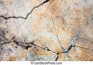 Cracked concrete surface with rich and various texture.