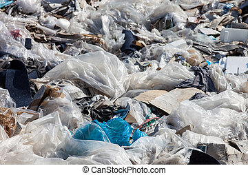 Garbage on the landfill - Piles of garbage on the city...