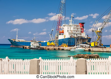 Large Barge in Grand Cayman - Barge anchored at commercial...