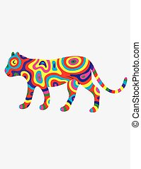 Tiger abstract colorfully, art vector illustration