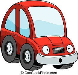 Surprised Cartoon Car - A cartoon illustration of a car...