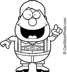 Cartoon Lederhosen Boy Idea - A cartoon illustration of a...