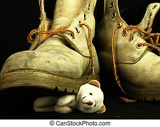 Teddy bear crushed by a heavy, old military boot - Childrens...