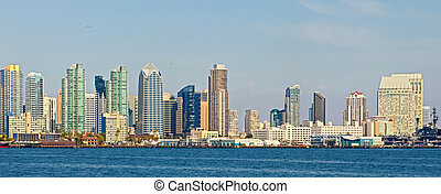 San Diego California, USA downtown business district...