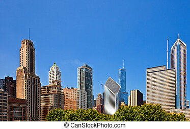 Chicago skyline of downtown buildings on a summer day with blue sky