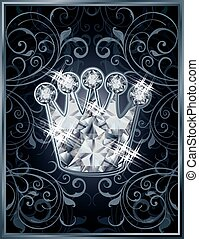 Diamond royal crown VIP card, vector illustration