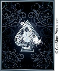 Poker spade diamond card, vector illustration